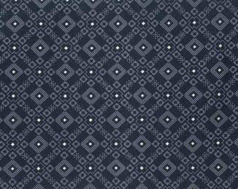 Navy Blue Parson Gray Akita PWPG 054 BORO patchwork fabric
