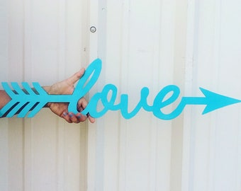 Turquoise Laser Cut Metal Love Sign
