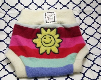 "Handmade Recycled Wool Soaker Cloth Diaper Cover ""Sunshine and Rainbows"" Size Small"