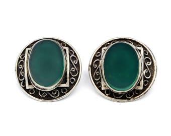 Palestine Filigree Earrings, Green Stone Ornate Earrings, Antique 1930s, 925 Sterling Silver, Made In Israel Jewelry, Round Clip On Earrings