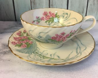 Lenox Rose Bouquet Mothers Day Limited Edition Teacup and Saucer Set Fine Ivory China Made in USA