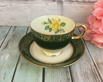 Glam Yellow Rose on Green Nautilus D62N5 Gold Trim Teacup and Saucer Vintage Multiples Tea Cup