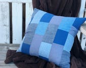Blue Patchwork Pillow - Q...