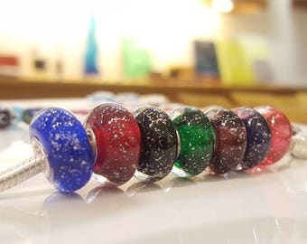 Shiny Glasscharm (Silver powder Glasscharm)  by Urinamu(Available in both Pandora and trollbeads's bangle)