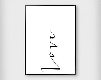 Love Print | Bedroom | Black and White | Typography - Sleep - Poster