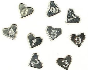 7x6mm Number Beads, 1 thru 9, Silver Plated Heart Shape, Bracelet Beads, Jewelry Making, Bulk Beads