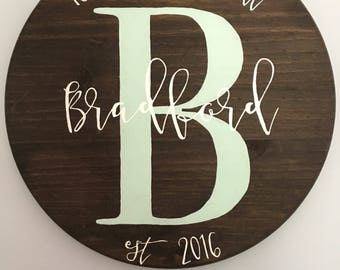 Custom Wood Name Sign, Personalized Family Name Sign, Name Sign, Wedding Gift, Housewarming Gift, Monogram Sign
