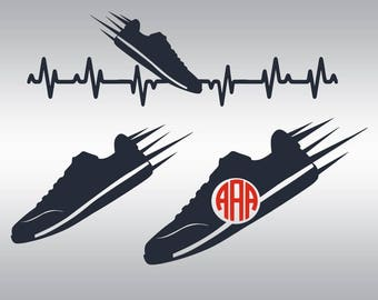 Runner svg, Running svg, Running shoes svg, Heartbeat svg, Sports svg, Cross Country svg, Cricut, Cameo, Clipart, Svg, DXF, Png, Pdf, Eps