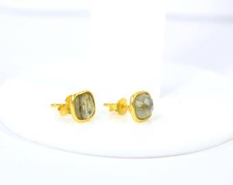 Labradorite cushion studs . gold plating stud, tiny &beautiful studs, gemstone stud ,  Labradorite jewelry ,grey color stud,gemstone jewelry