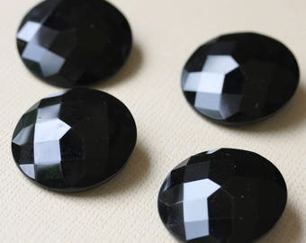Large Faceted Black Glass Buttons