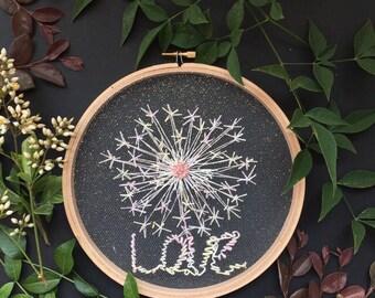 Dandelion Tulle Embroidery Hoop, Love, Wall Art, Home Wall Art, Home Decor ,Wall Hanging,Hand Embroidery, Tulle Embroidery, Embroidery hoop