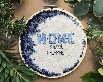 Home sweet home, Hand Embroidery Hoop Art, Stitched Art, Home Decor, Embroidery hoop,  Fibre Art, French Knot,Wall Hanging,Needlework,Sewing