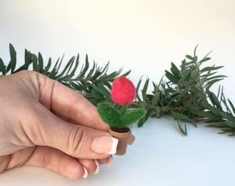 Decorative Felt Wool Plant, Organic Plant, Gift, Home Decor,Felted Flower,Pink Tulip,Wool Felt Flower,Mothers Day Gift,Wool Tulip,Mini Tulip