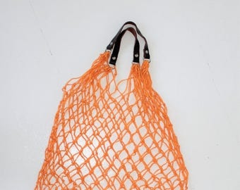 SALE Market bag, Orange Bag mesh,Leather Holders,  Soviet Orange Grocery Bag, Crochet Produce Bag, Net Market Shopping, Grocery Bag Mesh