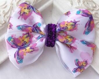 Butterfly hair bow, butterfly bow, purple hair bow, 3 inch hair bow