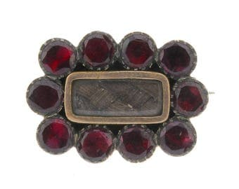 Antique Victorian Flat Cut Garnet Memorial Brooch Mourning hair