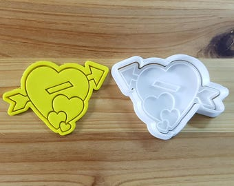Three Hearts and Arrow Cookie Cutter and Stamp