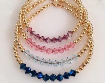 NEW Colors Added! Swarovski Beaded Bracelet, Swarovski Bracelet, Swarovski Jewelry, Birth Stone Bracelet, Birth Stone Jewelry