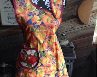 Asymmetrical fruit patterned apron