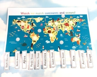 World map, Continents and Oceans learning sheet, removable pieces, KS1, Matching, Visual learners, Geography, children's map, homework