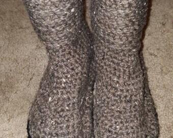 Crocheted Sweater Flip Flop Boots