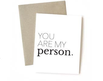 You Are My Person | Card || Greeting Card | Love Card | Anniversary Card | Wife Card | Wedding Card | Simple Card | Husband Card