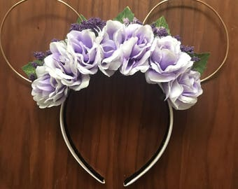 Lavender Floral Wire Mickey Ears