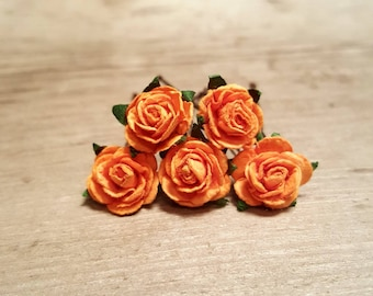 Orange Rose Hairpin, Wedding Hair Piece, Gift for Her, Flower Hair Pins, Christmas Gift, Hair Accessory