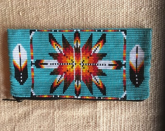 Hand beaded Southwestern style coin purse