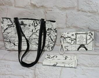 Map print purse set - Handmade purse  set - Black bag - Handbag  - Map print - Handmade - Fabric bag - Double strap