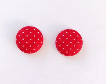 Handmade Polka Dots on Red Fabric Button Earrings