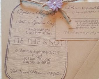 Mason Jar Wedding Invitations, Rustic Wedding Invitation, Wedding Invitations, Barn Wedding, Custom Wedding Invitations, Deposit only!