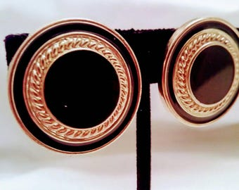 Black and Gold Round Clip On Earrings