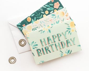 Greeting Cards - Cute Floral Stationery - Set of 3 Designs  - Greeting Card Pack of Three - Happy Birthday - Thank You - Congratulations