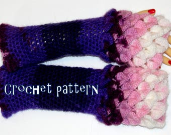 PDF PATTERN long Dragon Gloves Dragon Scale Gloves Fingerless Crocodile Stitch Game of Thrones Arm warmers crochet pattern