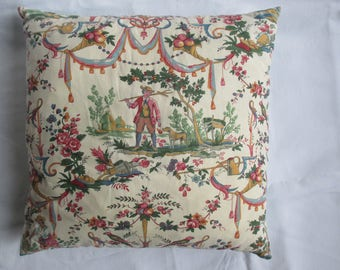 Polychrome French toile de Jouy cushion
