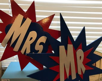 Superhero Inspired Mr. and Mrs. Signs for Wedding Photo Props or Centerpiece