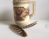 Fantastic Aesthetic English Transferware Creamer or Small Pitcher with a Stag Deer Buck pattern. Woodland. Cabin. Brown transferware.