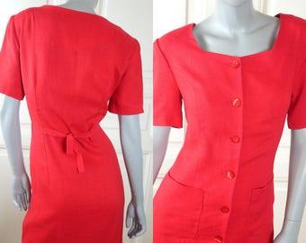 Estonian Vintage Summer Dress, Red Linen Blend Short-Sleeve Above-the-Knee Slim-Fitting European Dress: Size 8 US, Size 12 UK