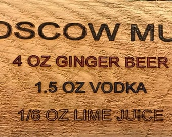 Moscow Mule Drink Ingredient Sign