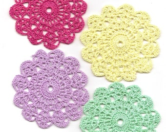 Set Of 4 Crocheted Doilies Crochet Medallions Assortment Mini Doily Boho Crafts Flower Dream Catcher Decorative Tea Time Coaster Home Decor