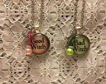 Good Witch/Bad Witch Charm Necklace Set/Good Witch Necklace/Bad Witch Necklace/Good Witch Jewelry/Bad Witch Jewelry