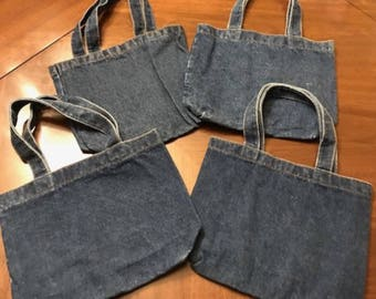 Lot of Four DenimTote Bags, Kids Denim Totes, Crafters Tote Bags, Denim Gift Bags