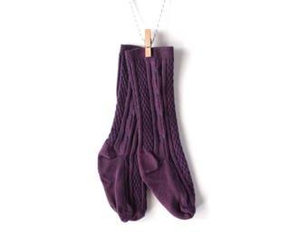 Plum Purple Knee-High Stockings/Socks for Baby/Toddler