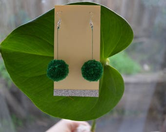 Dark Green Pom Pom Earrings