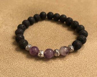 Black lava stone and amethyst bead bracelet, essential oil bracelet