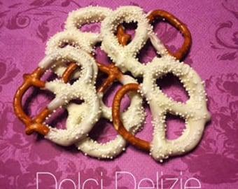 50 White Chocolate Covered DippedPrezels, Baby Shower Favors, White Wedding Favors, Baptism Favors, Communion Favors, White Snacks
