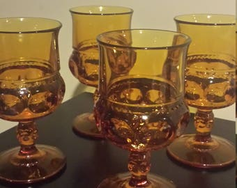 Amber king's Crown Thumbprint set 4 wine  amber glasses