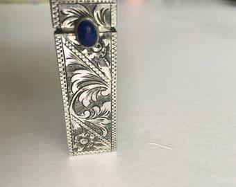 Silver Lipstick holder with Blue Azuli stone cobichan