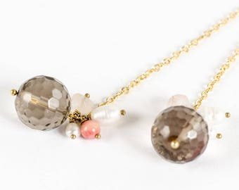 END of series - Necklace in 18 k gold plate, smoky Quartz & charms